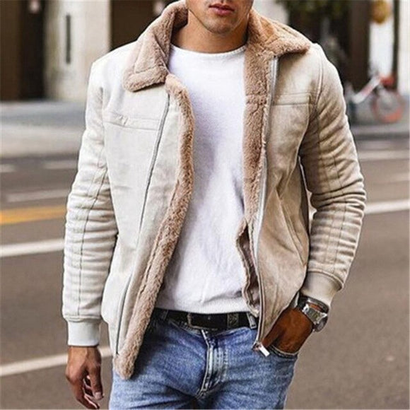 Invomall Men's Faux Leather Warm Jackets Parkas Outerwear
