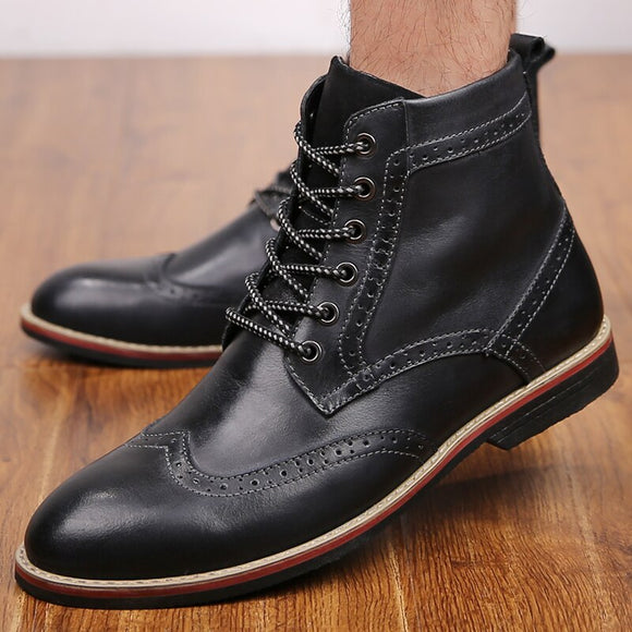 Invomall Top Quality Men's Genuine Leather Vintage Boots