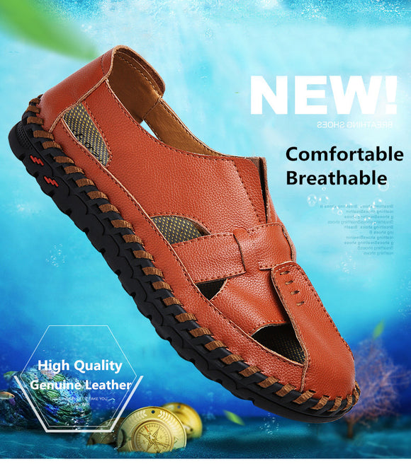 New Genuine Leather Handmade Men Sandals