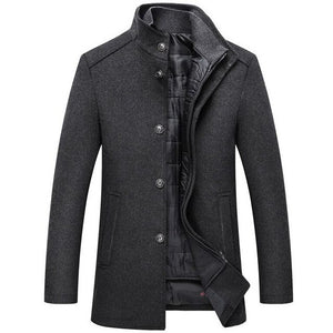 Invomall Men's Vintage Long Wool Coat Windbreaker