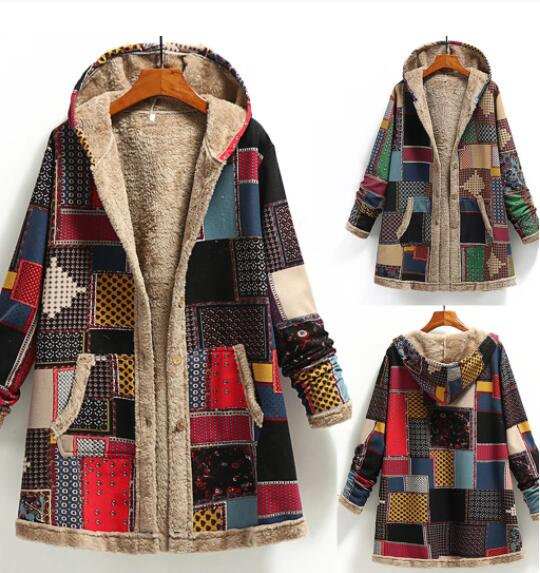 Invomall Winter Women's Hooded Printed Coat