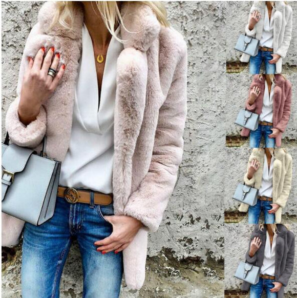 Invomall Autumn Winter Ladies Elegant Faux Fur Coat