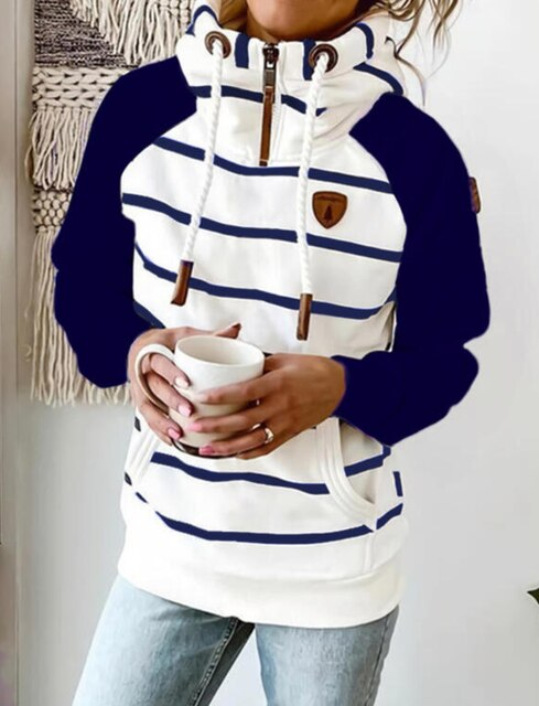 Invomall Women's Striped Hooded Vintage Sweatshirt