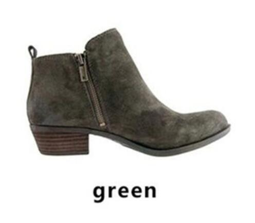 Shoes - Women's Vintage Chunky Low Heel Ankle Booties