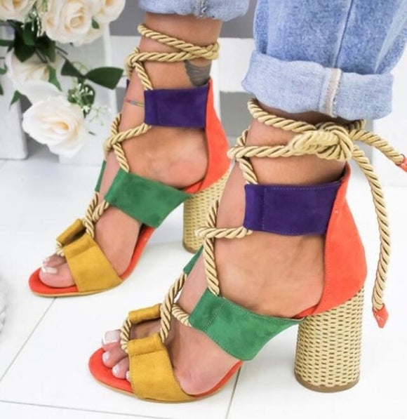 Women's Shoes - 2019 Lace Up Summer Pointed Fish Mouth High Heels Shoes(Buy 2 Get 10% off, 3 Get 15% off Now)