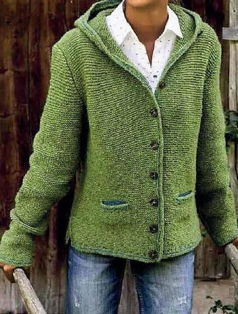 Invomall Ladies Hooded Knitted Cardigan Sweater Outerwear