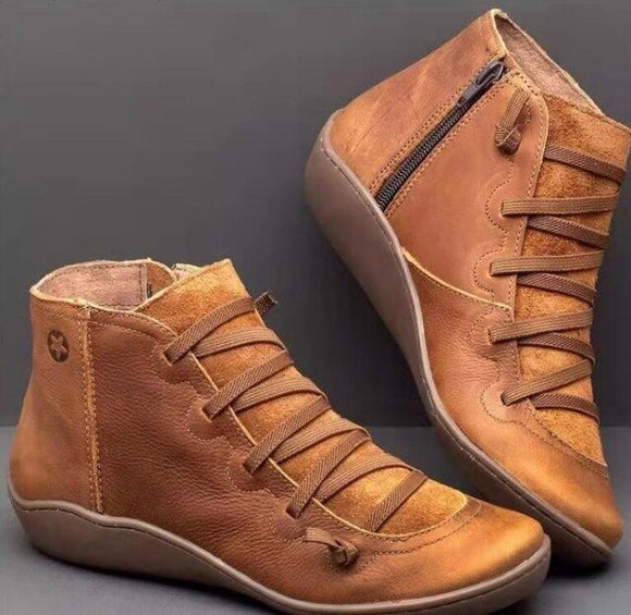 Invomall Ladies Comfortable Genuine leather Ankle Boots
