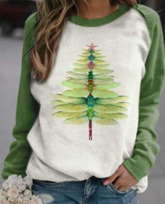 Invomall Ladies Dragonfly Christmas Tree Print Sweatshirt