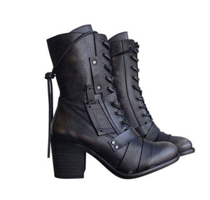 Invomall Ladies Zippers High Heels Ankle Boots