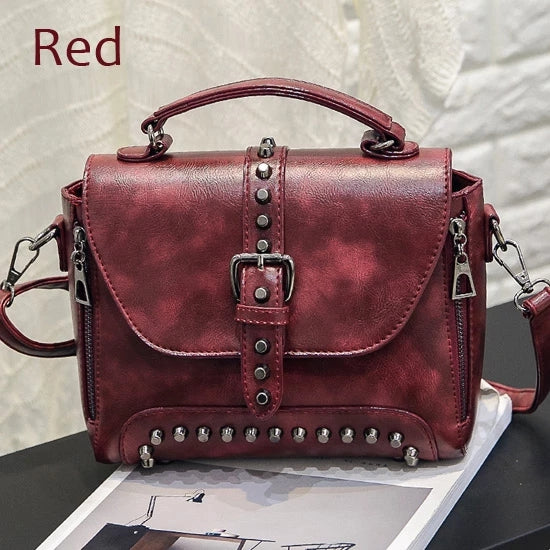 Invomall Women's Vintage Leather Rivet Handbags