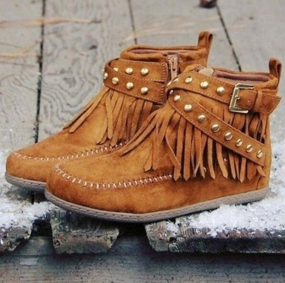 Shoes - Ladies Fashion Tassel Ankle Boot