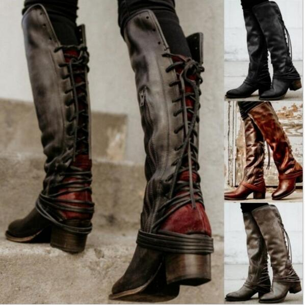 Invomall New Women's Vintage Knee High Boot