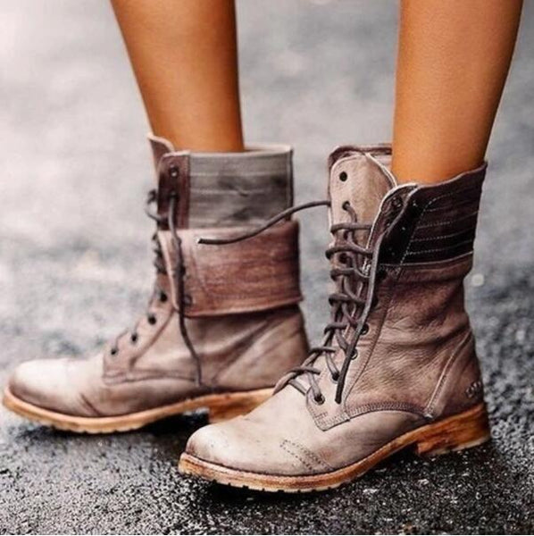 Shoes - Women's Leather Chunky Ankle Boots