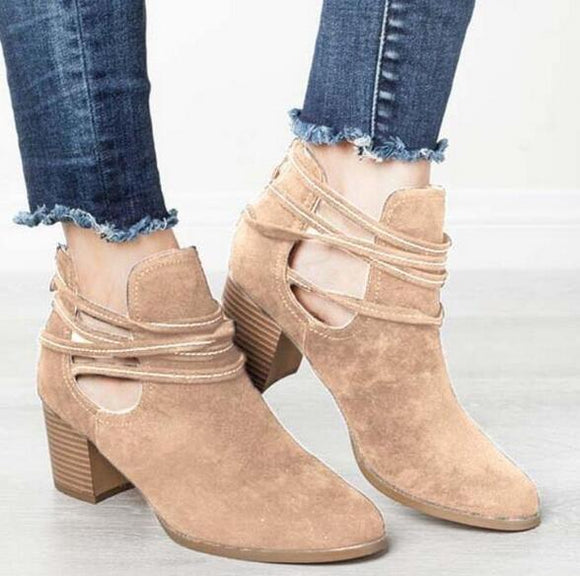 Shoes - Women's Hollow Out Casual Ankle Boots