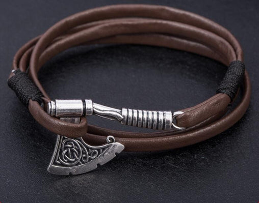 Biker Viking Axe Leather Bracelet