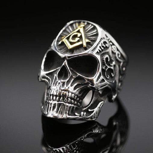 Freemason Signet Skull Ring