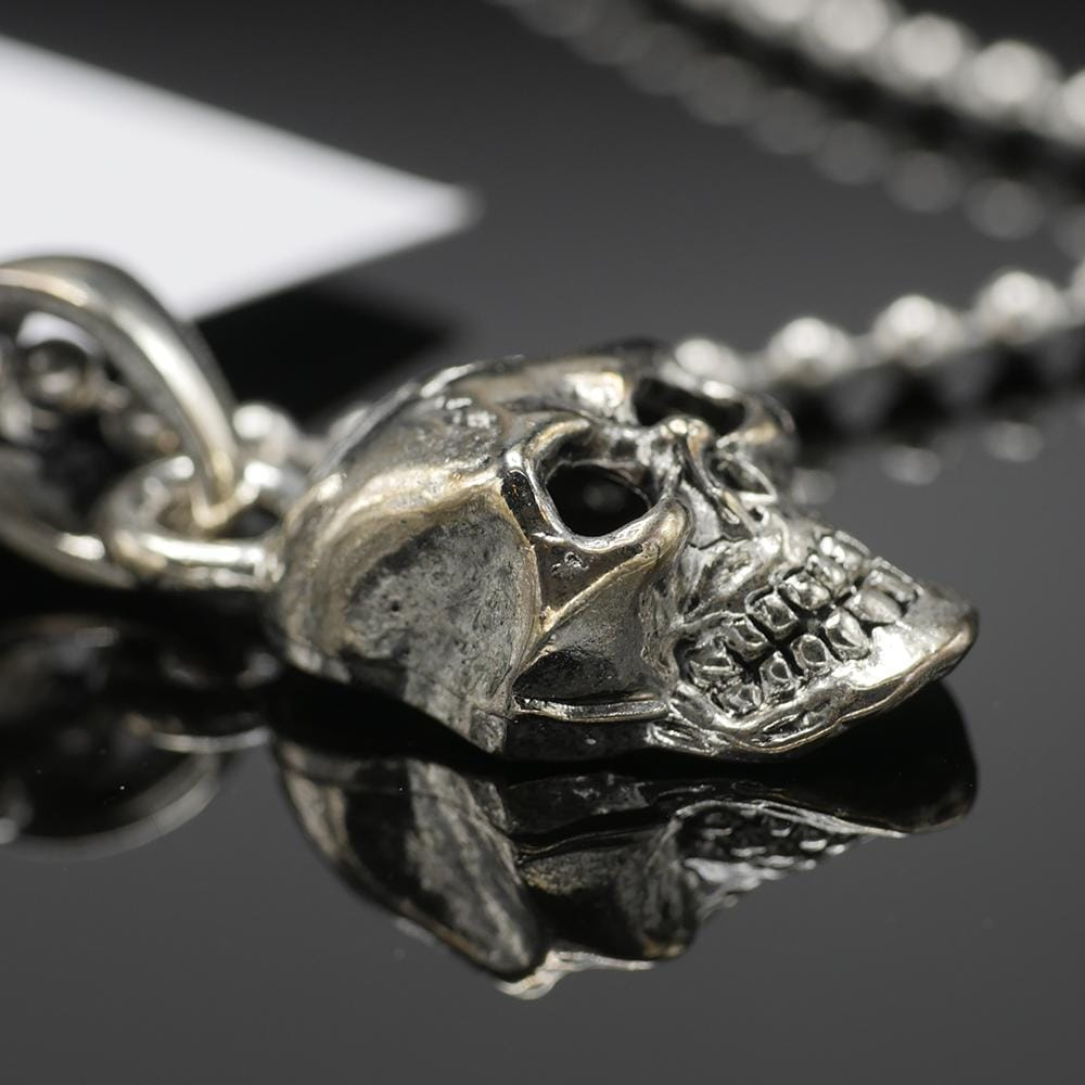 "Skull Pendant on Stainless Steel 30"" shot beed ball chain - Red Rocket Brand"