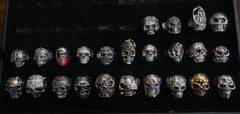 Biker Ring Closeout Sale - 24 Skulls (size 10) - Red Rocket Brand
