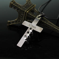 Black-Metal Cross Necklace - Red Rocket Brand