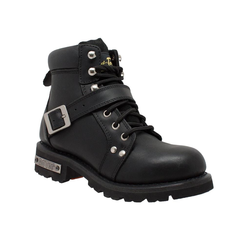 Women's YKK Zipper Black Biker Boot - Red Rocket Brand