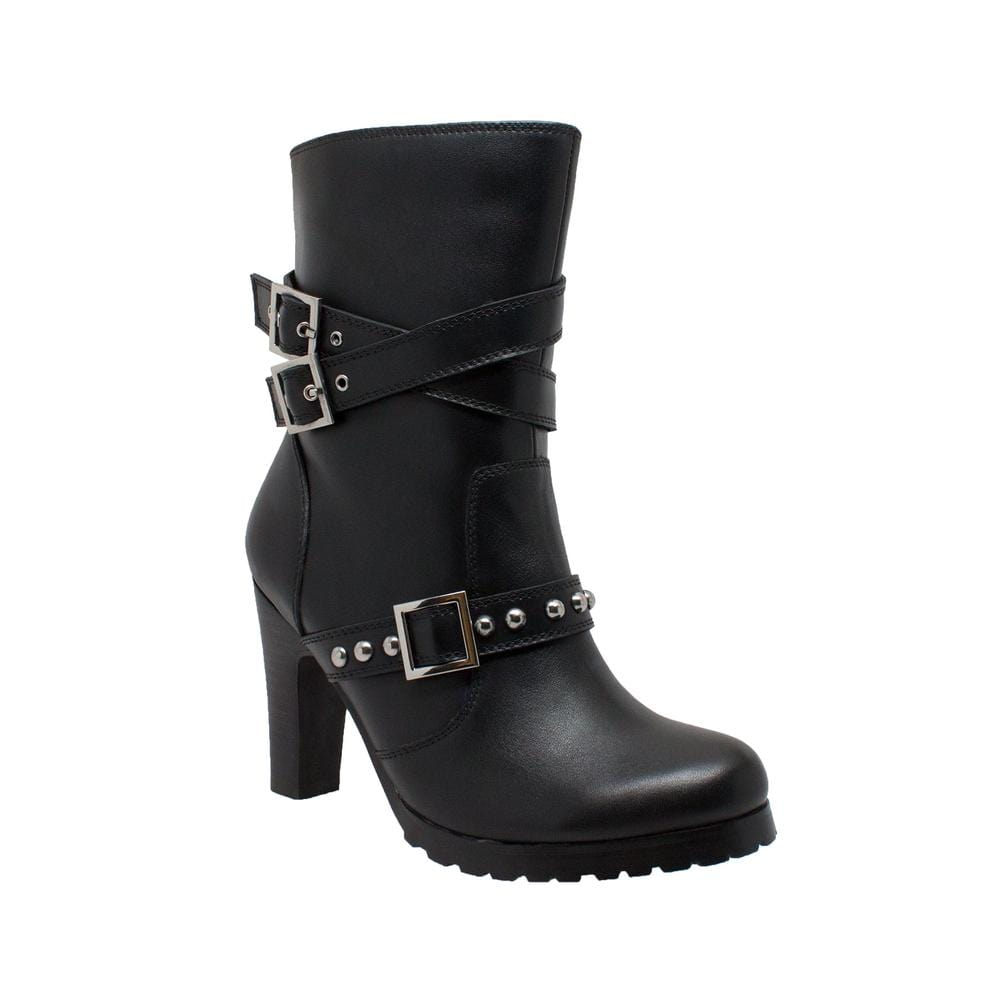 Women's 3-Buckle Boot with Heel - Red Rocket Brand