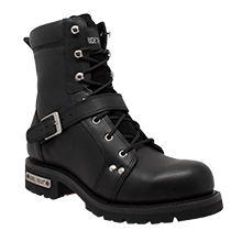 "Men's 6"" YKK Zipper Black Biker Boot"