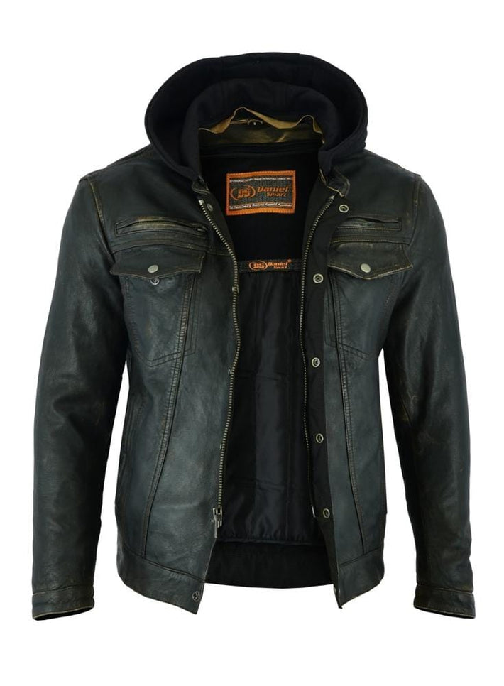 Men's Lightweight Drum Dyed Distressed Naked Lambskin Jacket - Red Rocket Brand