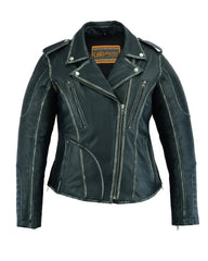 Women's M/C Jacket with Rub-Off Finish - Red Rocket Brand