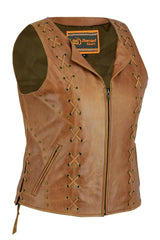 Women's Brown Zippered Vest with Lacing Details - Red Rocket Brand