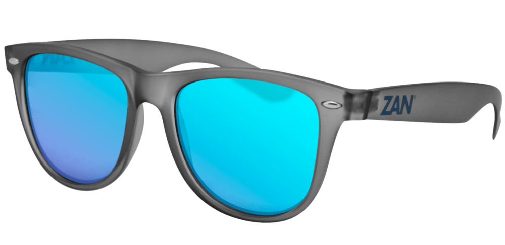 Minty Matte Gray Frame, Smoked Blue Mirror Lens - Red Rocket Brand