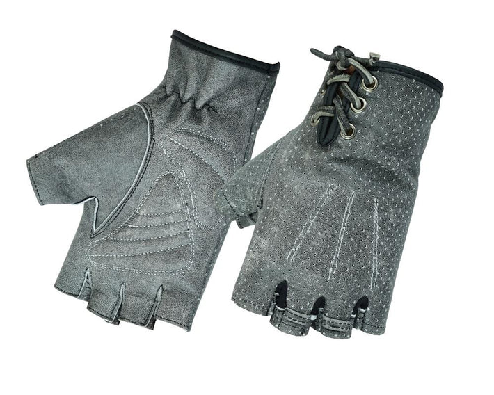 Women's Washed-Out Gray Perforated Fingerless Glove - Red Rocket Brand