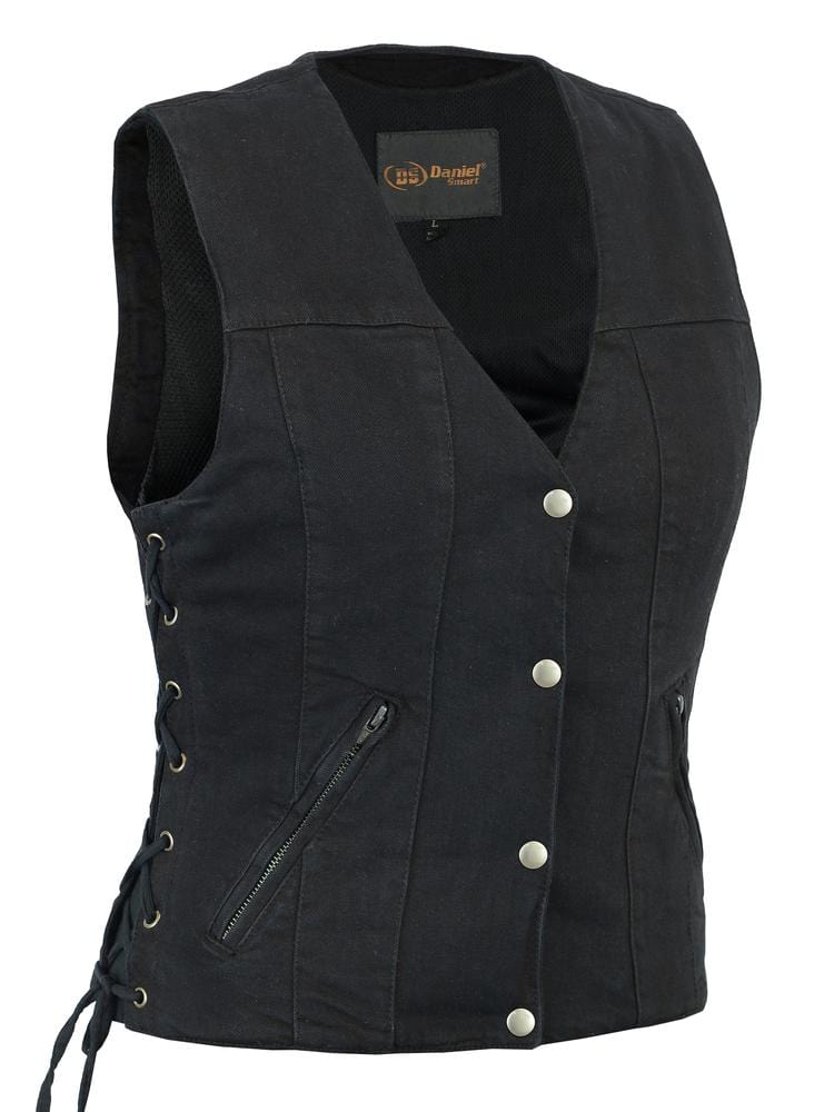 Women's Single Back Panel Concealed Carry Denim Vest - Red Rocket Brand