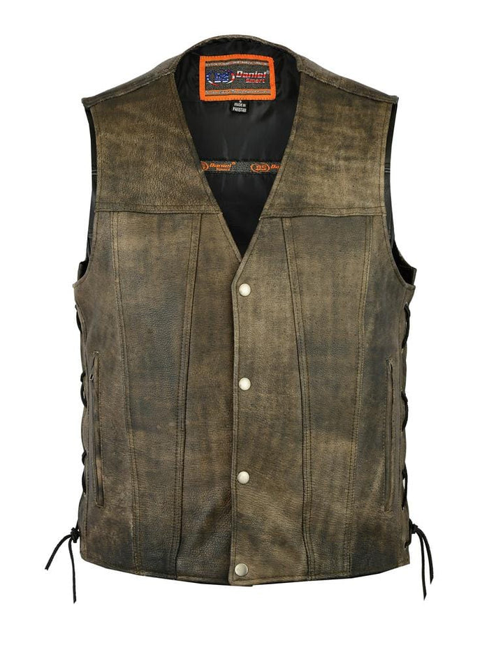 Men's Antique Brown Single Back Panel Concealed Carry Vest - Red Rocket Brand