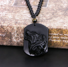 Natural Obsidian Wolf Necklace