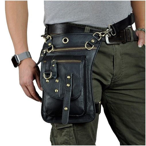 Biker Leather Waist Leg Bag