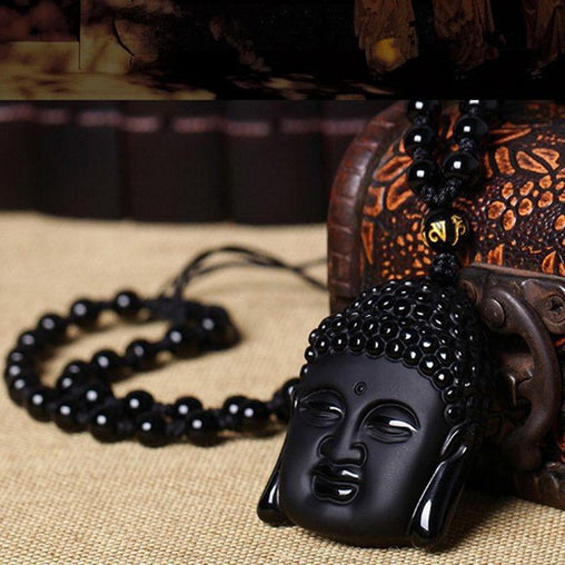 Natural Obsidian Gautama Buddha Pendant Necklace