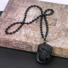 Natural Obsidian Wolf Necklace - Red Rocket Brand
