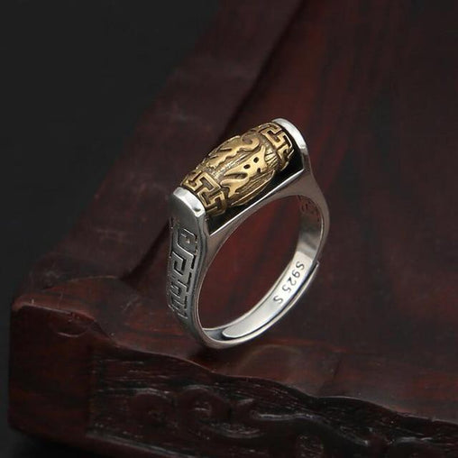 Silver Tibetan Six Words Proverb Ring