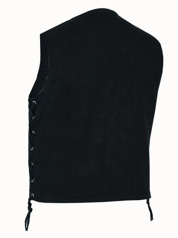 Men's Traditional Denim Vest with Side Laces - Red Rocket Brand