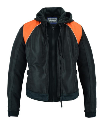 Women's Mesh 3-in-1 Riding Jacket (Black/Orange) - Red Rocket Brand