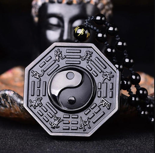 Natural Black Obsidian Taiji BaGua Yin And Yang