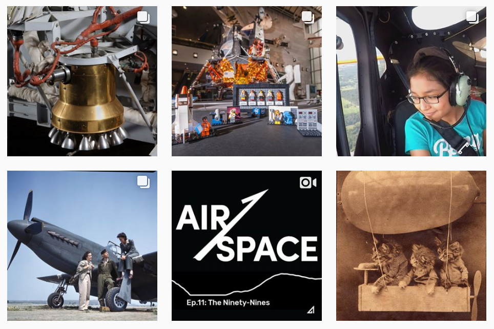 the Air & space top STEM instagram feed for girls account