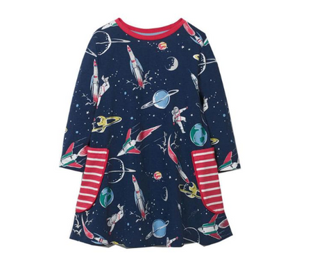 astronaut space pocket STEM dress for girls