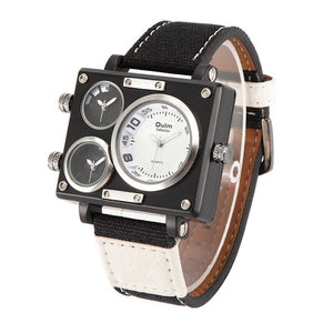 OULM Multiface Wristwatch w/ Leather Band