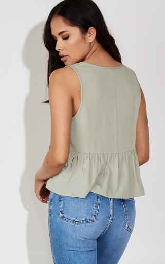 Ruffled Feathers Top in Sage