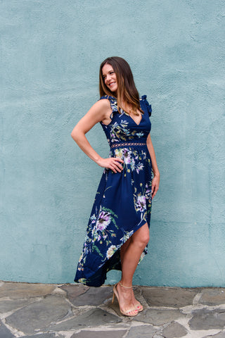 Flowers in Your Hair Dress in Navy