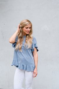 Cross Your Mind Top in Dusty Blue
