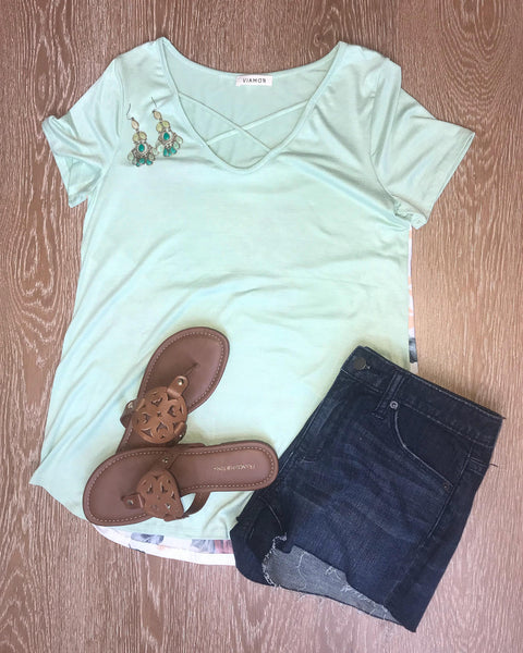 Cross My Heart Top in Sage