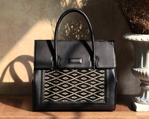 Black Chaksarn Woven Thai Pattern Bag