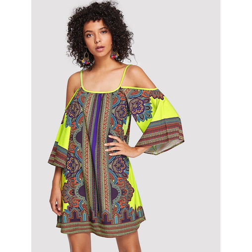 Multicolor Cold Shoulder Geo Print Mini Dress